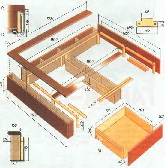Схема кровати, сделанной своими руками