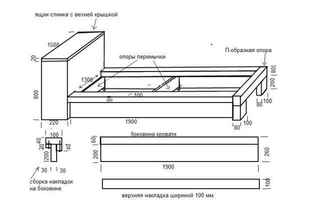 Схема сборки двуспальной кровати фото 668