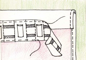 Схема шитья шторной ленты