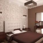 Фото интерьера спальни с обоями двух видов