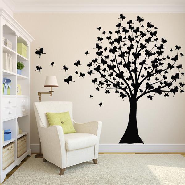Бабочки на стене своими руками трафареты фото и декор