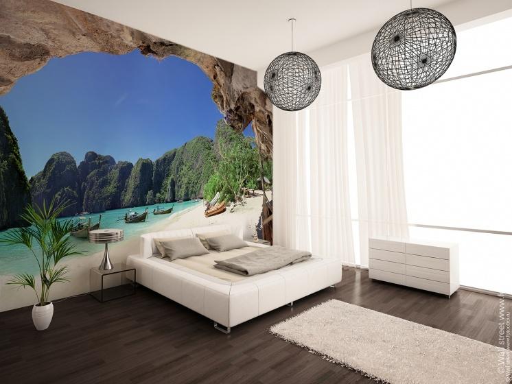 Фотообои расширяющие пространство в интерьере спальни фото