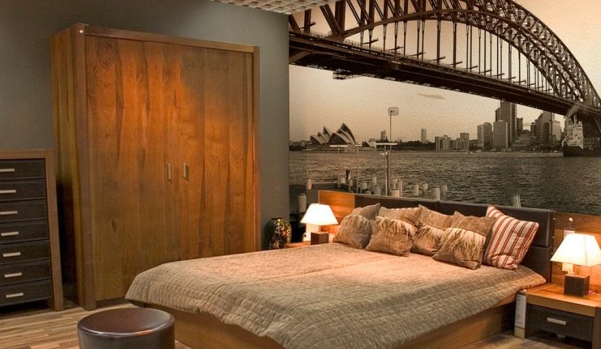 обои в спальне над кроватью фото
