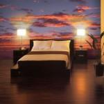 Фотообои в спальне над кроватью