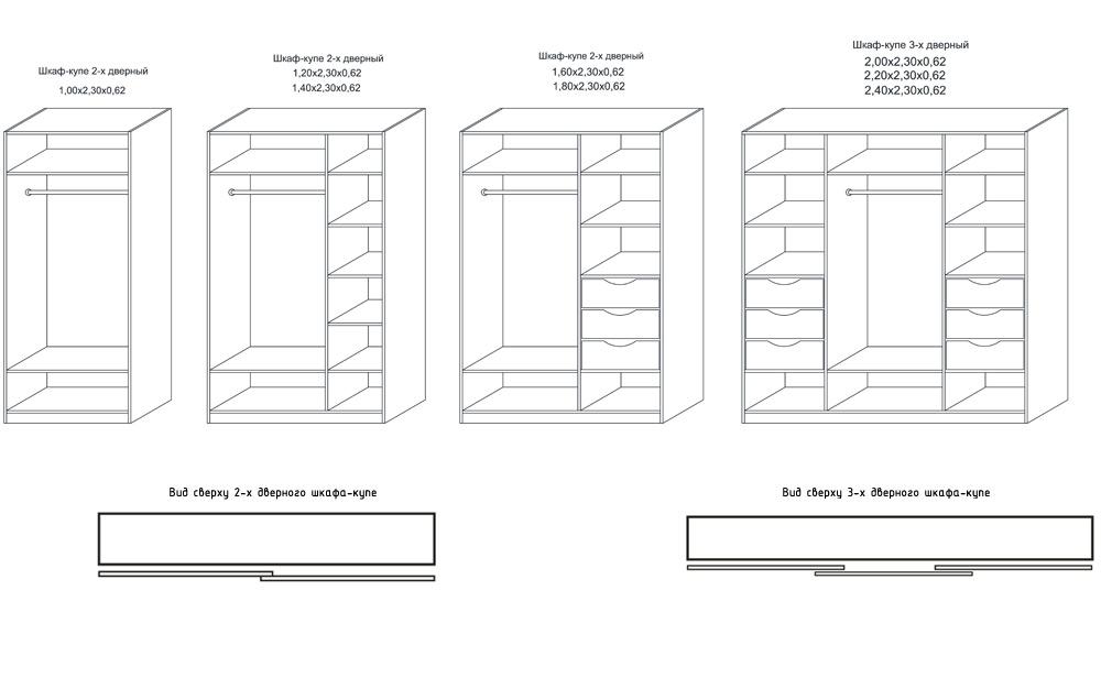 Шкафы купе размеры схема 53