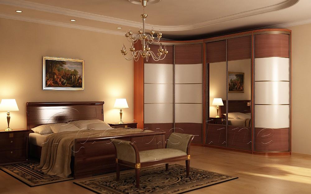 Фото спальни угловой интерьер