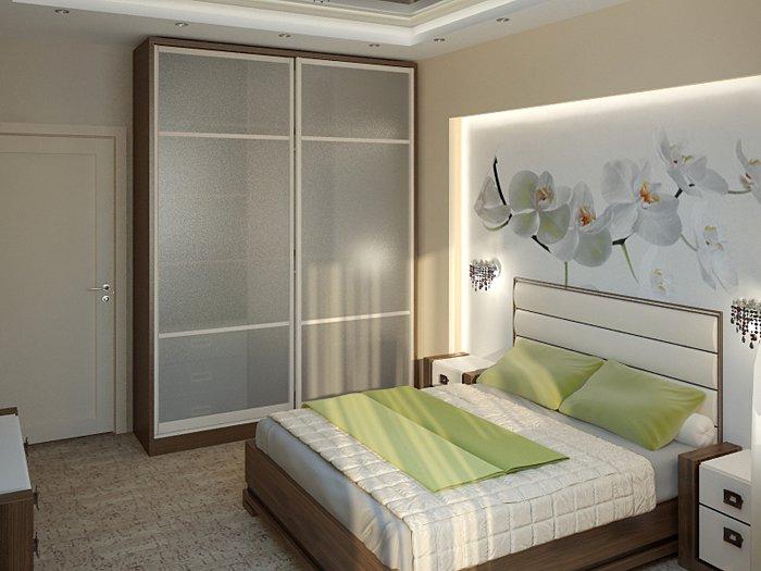 Как расставить мебель в спальне с балконом.