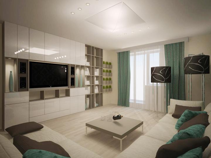 Дизайн зала 17 кв м с балконом