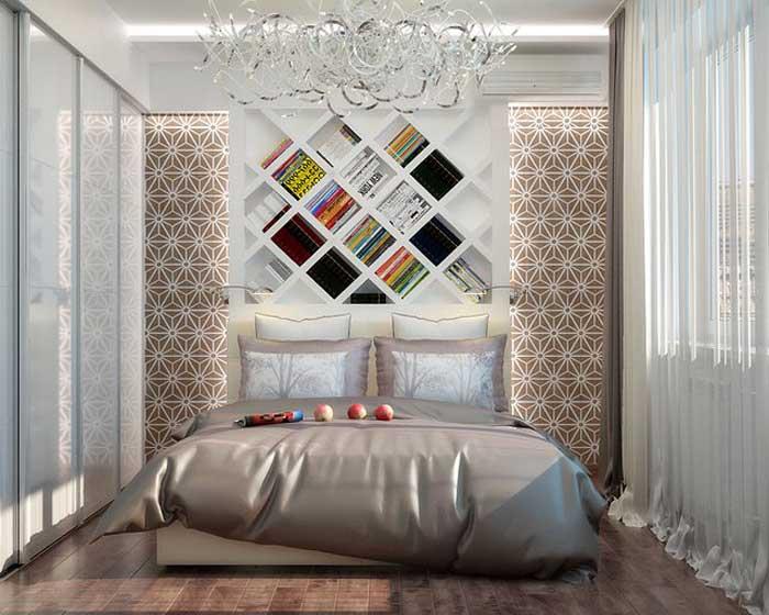 Дизайн спальни 12 кв.м с детской кроваткой в современном стиле